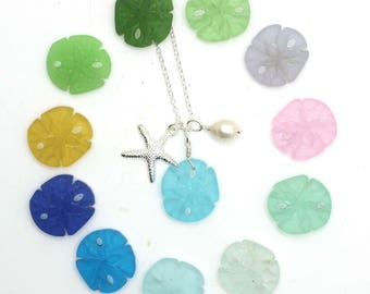 Beach Glass Necklace 12 Colors, Sand Dollar Necklace, Silver Starfish, and Pearl Necklace - Beach Wedding, Bridesmaids Gifts, Beach Jewelry