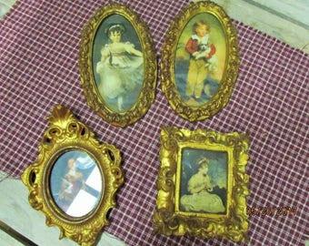 Set of 4 Vintage Italian Gold Gilt Wood Wooden Frames With Original Prints of Victorian Children Florentia Italy