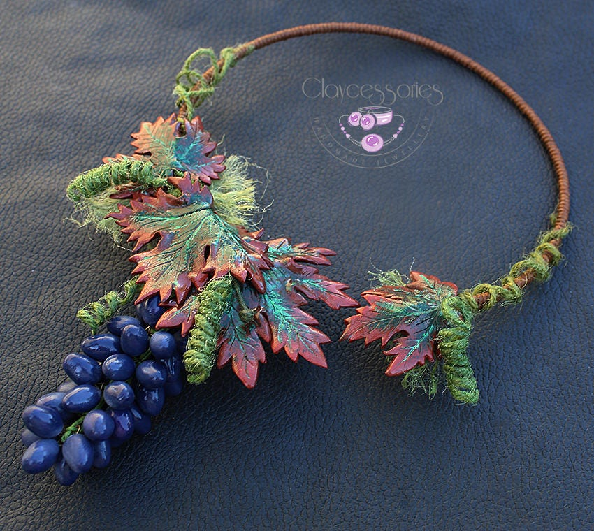 Autumn necklace /Grapes necklace / Fruits necklace / Fall jewellery /Statement necklace/Choker necklace/Bib necklace /Polymer clay jewelry