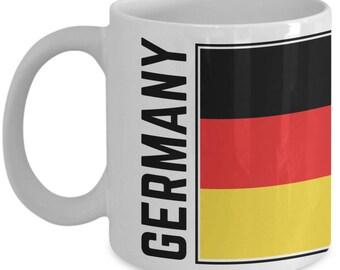 Germany Flag   Coffee Tea Mug   German Pride   White   Ceramic Coffee Mug   11 oz   15 oz   German Flag