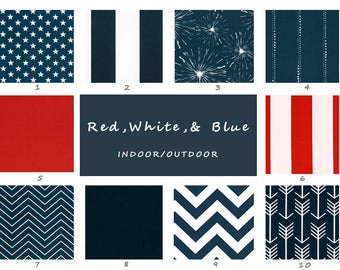 Patriotic, Indoor, Outdoor, Pillow Covers, 4th of July, Red, White, Blue, Stars, Stripes, Independance Day, American, Pillow, Cushion