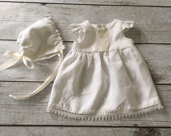 Linen Christening Gown, Infant Linen Baptism Dress, Blessing Gown, Vintage Lace Newborn Dress, Heirloom Baby Gown, Flutter Sleeve Blessing