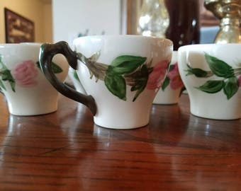 "Vintage Franciscan Desert Rose Tableware 2-1/8"" Flat Demitasse Cup & Saucer Set Reduced was 19.99"