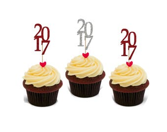 Personalized Graduation Cupcake Toppers, Set of 12, Custom to your school colors. Toppers Only