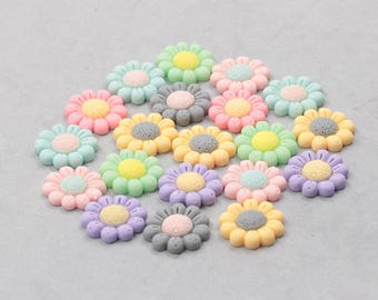 21mm Resin Flower Cabochons / Mixed Lot Resin Flowers Supplies Wholesale SZ-003-2