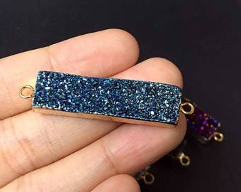 SALE Blue Druzy Rectangle Bar Titanium Agate Druzy Double Bail Connector Pendant with Gold Electroplated Edges (S5W2-40)
