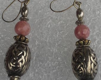 Vintage rhodochrosite and sterling silver dangle earrings