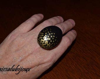 large gold and black adjustable polymer clay ring all sizes