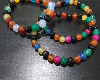 Mixed Agate Healing gemstone bracelets- 6mm or 8mm