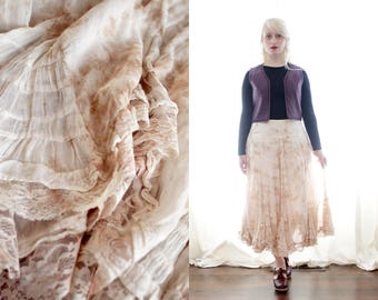 Vintage tea stained cotton ruffle lace prairie romantic gauze skirt