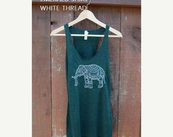 MOVING SALE Henna Elephant Tank, Workout Shirt, Yoga Tank, Boho, Bohemian Clothing, Hippie Clothes