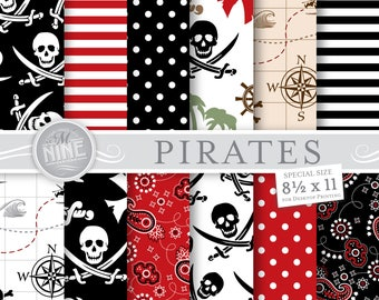 PIRATES Digital Paper / PIRATE Party Printables / 8 1/2 x 11 Pirate Patterns, Pirates Theme, Pirates Downloads, DIY Scrapbook Paper