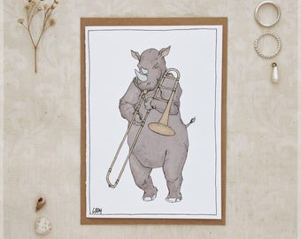 The Rhino and His Trombone ~ Greeting Card from Original Ink and Watercolour Painting