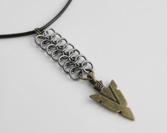 Leather choker necklace,Chainmaille necklace,Boho choker,Arrow head choker,Brass arrow head necklace,Boho necklace,Bohemian jewelry