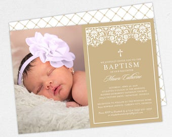 Photo Baptism Invitation, Christening Invitation, Girl Baptism Invitation, Printable Baptism, PDF, DIY, Printed, Lace Invite, Kraft, Maura