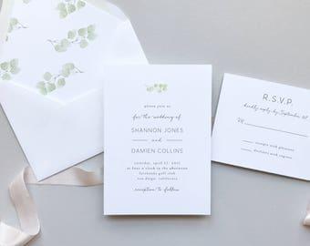 Eucalyptus Minimalist Wedding Invitation Suite / Letterpress or Digital Printing / Simple Elegant Garden Wedding / #1116