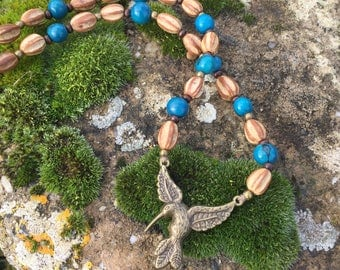 Ethnic necklace with exotic seeds - acai turquoise and Santa Barbara seeds