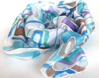 Blue scarf, Hand painted silk scarf, Geometric scarf, Silk scarf,  Scandinavian style scarf, Summer scarf women,  Natural silk scarf