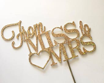 Miss to Mrs with Heart Cake Topper  - Single-sided Glitter