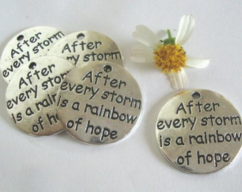 Hope Word Charm,After Every Storm  is a rainbow hope,5 pcs