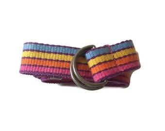Vintage Rainbow Stripe Cloth Belt