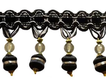 "Elegant 3"" Beaded Tassel Fringe Style# Bfh3 - Black, Silver Grey Sgb (sold by The Yard)"