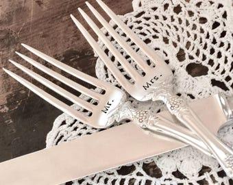 Ready to ship wedding forks. Vintage hand stamped forks. Wedding cake knife. Antique silver plate forks. Mr & Mrs wedding cake forks.