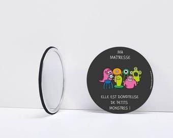 Pocket mirror - season gift - teacher end of year school - year gift - centerpiece - B