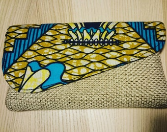 Afrocentric Purse, Wallets, Purses, Tribal Wallet, Handbag, African Purses, Clutch Purse,  Handmade Wallet,turquoise-and beige printed purse