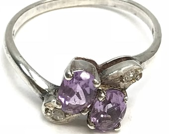 Sterling Silver and  Oval Amethyst Toi et Moi Ring with side stones