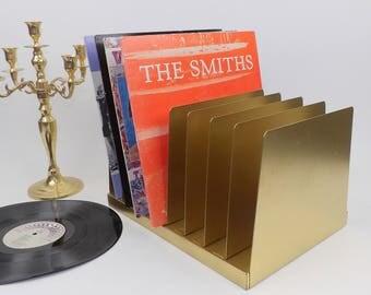 Vintage Industrial Metal Mail Bill Sorter Vinyl Album Rack Gold Desktop Shelf File Cabinet Office Storage Mid Century Furniture Magazine MCM