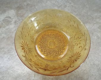 TWO (2) Daisy Amber Finger Bowls  Vintage Item Spoke, Tiara, Handled, Vintage Serving, Replacement Pieces Nut Bowls