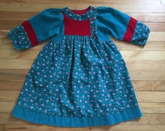 Vintage 1980s Girls Floral Corduroy Green Red Dress! Size 5