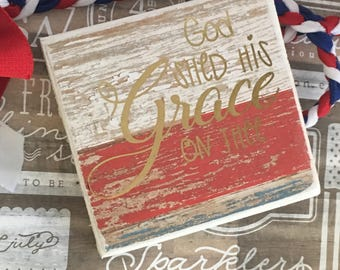 Fourth of July wood sign, patriotic sign, americana, American sign, 4th of July decor, memorial day decor,  wall decor,mini wood block