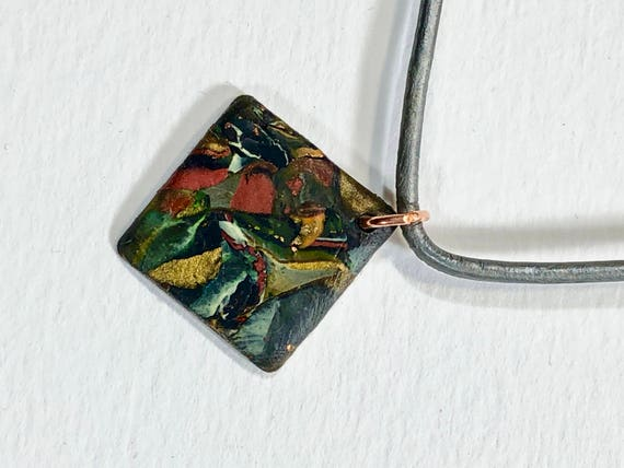 Handmade red/green/black/white/copper/gold polymer clay copper diamond shape pendant necklace with abstract asymmetric design