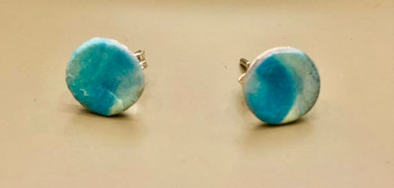 Earrings - contemporary handmade turquoise/cream/silver polymer clay sterling silver studs