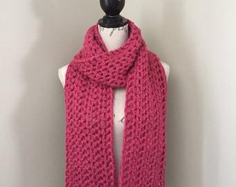 Crochet infinity scarf, chunky crochet scarf, crochet long scarf, crochet scarf in raspberry