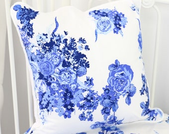 Juliet's Blue and White Floral Square Pillow | Blue and White Floral Accent Pillow | Baby Girl Floral Nursery