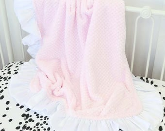 Blush and White Minky Baby Blanket | Baby Girl Baby Shower Gift | Personalized Blanket