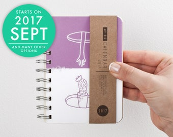 2017 2018 pocket DAY planner with high quality paper! Small weekly Diary Calendar Kalender Journal Agenda! Hand and cactus September October