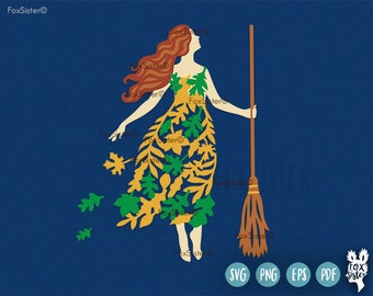 Autumn Witch SVG, Happy Halloween | witch cutting files svg | Witch Clipart | leaves | Cutting File | woman | Cricut, Cameo | Home Decor