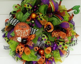 Halloween Wreath, Witch Wreath, Halloween Deco Mesh Wreath, Halloween Décor, Halloween Door Wreath