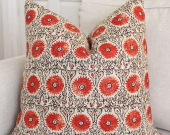 Riya Pillow Cover // Riya Coral Floral Print Linen 20x20 Square Throw Pillow, Accent Pillow, Toss Pillow 16 18 22 24 26