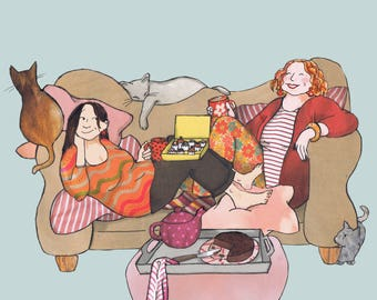 CHAT AND CHOCOLATE. A fun card with two friends on a sofa having a good giggle over tea and cake.Printed card from collage original ..
