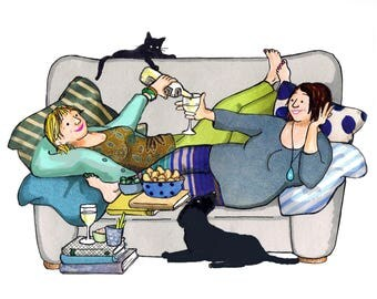 Blue sofa ladies .Two friends having a good giggle over a glass of wine     and some nibbles.Printed card from collage original ..