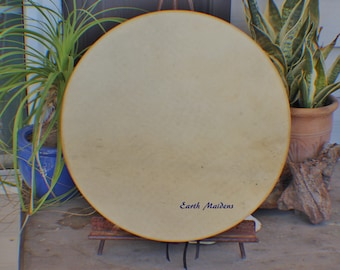 """15"""" Deer Hide Hand Drum Native American Made William Lattie Cheroke comes w/ Certificate of Authenticity FREE US SHIPPING"""