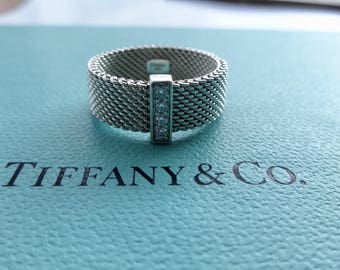 Authentic Tiffany & Co. Somerset Mesh Sterling Silver with Four Diamonds Band Ring Size 7.5