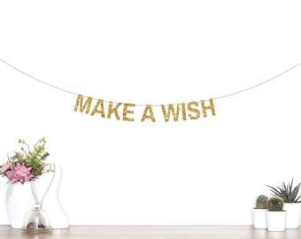 Make A Wish Banner, Wish Glitter Banner, Birthday Banner, Baby Shower, Birthday Wishes, Wedding Wishes, Birthday Party Banner, Gold Banner