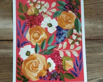 Coral floral - PRINT of original art
