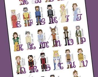 Shakespeare Themed Cross Stitch Alphabet - PDF Pattern - INSTANT DOWNLOAD